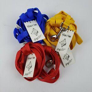 "Lot of 6 Nylon Dog Leash Pet Training Leads -1/4 "" X 5ft - Assorted Colors"