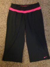Women's NIKE Dri Fit Pink Gray Workout Yoga Lounge Capri Crop Pants XS, Perfect!