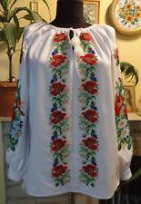 Ukrainian hand embroidered Women's blouse, Size XL, Beaded emroidery Handmade