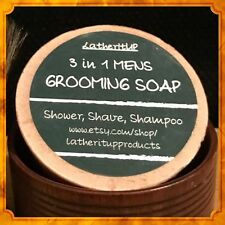 2 X 3 In 1 Mens Grooming Soap, Natural, Organic, Handmade. Shower, Shave & Shamp