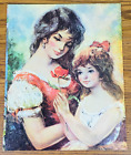 """VINTAGE MOTHER AND CHILD A. MAKK LITHOGRAPH 11X14"""" Litho Daughter Italian Rose"""