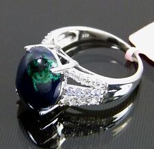 Genuine Azurite Tanzanite White Topaz Ring Malachite Lazuli Platinum / 925