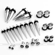 Gauge 12G-00G Stainless Steel Ear Plugs Tunnels Expander Tapers Stretcher Kit