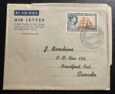 1950 Pitcairn Island Air Letter Cover To Brantford Canada