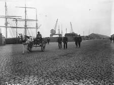OLD IRELAND PHOTO 1911 Uniformed Police Patrolling The Dublin Docks
