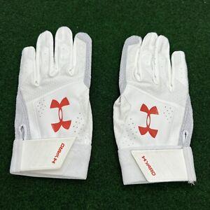 Under Armour Yard Batting Gloves Size Large (L) White Orange (1316279-102)