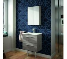 Bathroom Mirror Cabinet 2 Door Grey Wall Mounted Mirrored Medicine Cupboard
