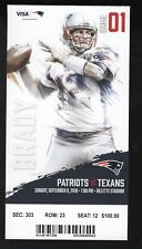 September 9, 2018 New England Patriots & Houston Texans Full Ticket Pats 27-20