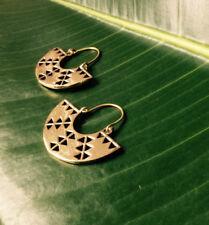Tribal Earrings Lotus Hoops Brass Ethnic Statement Boho Festival Gypsy Large D22