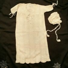 Handmade Knit Christening Gown 1960's Vintage Baby Communion Dress and Bonnet