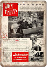 "Johnson Sea Horse Outboard Motor Fishing Boat 10"" x 7"" Reproduction Metal Sign"