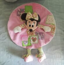 Doudou Plat Minnie rose patchwork noeud fleur vert Disney rond cœur Neuf Nicotoy