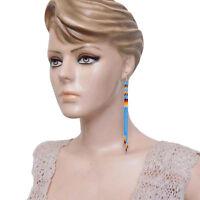 HANDMADE BEADED TURQUOISE BLUE EXTRA LONG EARRINGS E53/24