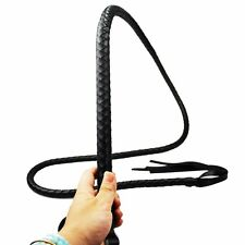 Riding Crop Whip black Leather 2M Functional Horse Costume Prop Role Play whip