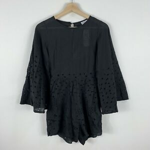 Lioness Womens Romper Playsuit Size Medium Black 3/4 Sleeve Boho 65.29