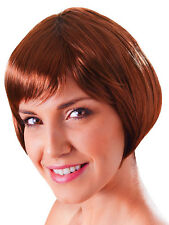 Ladies Brown Flirty Flick 20s Flapper Style Short Bob Wig Fancy Dress Accessory