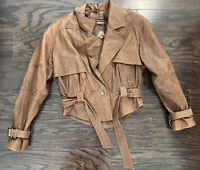 Vintage Adventure Bound Womens Brown Lined Leather Bomber Jacket Coat Small