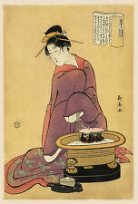 Japanese Art Print:  Habachi and devoted housewife- Fine Art Reproduction