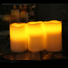 3Pcs Flickering Flameless Pillar LED Candle LightsFor Wedding Party Brithday US