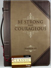 """Bible Cover Brand NEW Be Strong & Courageous Large Brown 7"""" x 10 1/4"""" x 1 7/8"""""""