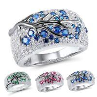 Hübsche Frauen Kristall Strass Ringe Rundschnitt Mode Ehering Größe 6-10