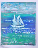 Original Acrylic Painting 8 x 10 Canvas Panel,Ship Nautical Tropical Coastal Art