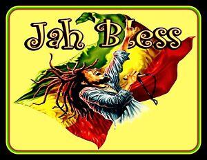 "4.5"" JAH BLESS! vinyl sticker. Bob Marley Reggae, Rastafarian decal for car."