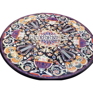 Black Marble Dining Table Pietra Dura Inlay Floral Arts Kitchen Home Decor H3008