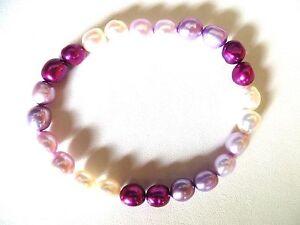 Honora Cultured Multi Color Lilac Fuchsia White Pearls Stretch Bracelet 7MM