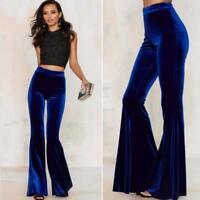 Fashion Womens Velvet High Waist Pants Stretch Slim Flare Bell Bottom Trousers