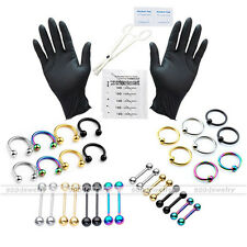 PRO 42pc 16G Body Piercing Kit Needle Nipple Tongue Eyebrow Lip Ring Clamps Tool