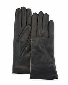 Portolano women's Cashmere lined Black Napa Leather Gloves size 6.5 / 6 1/2 nwt