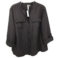 NY Collection 1X Top Blouse Shirt Black Women's Plus Size New Button Down V Neck