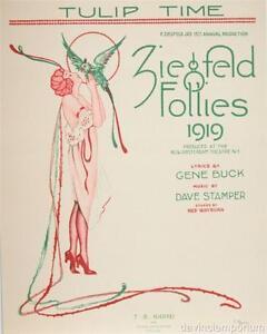 Tulip Time  Ziegfeld Follies 1919 Sheet Music Cover Fine Art Lithograph S2