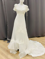 Vintage wedding dress size small off white light tulle ruffles empire waist