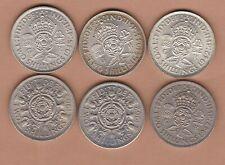 More details for six 1942/44/45/47/62 & 1963 george vi &  elizabeth florins near mint condition