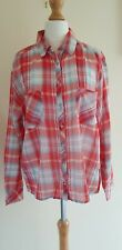 Mango red checked shirt size xs roomy lightweight summer casual