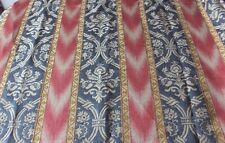 "French Antique Silk Jacquard Fabric Yardage~Renaissance Design~Ikat~155""X52& #034;"