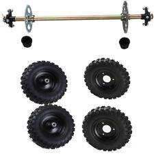 "Go Kart Rear Axle Assembly Kit + 6"" F+R Wheels Hubs Mini ATV QUAD Buggy 4.10-6"