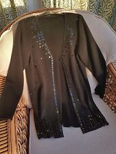 Vintage Marks and Spencer Long Cardigan Black Sequin Beads Embellished Size 10