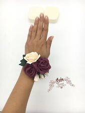 Burgundy ivory Bridesmaid corsage, Real Touch Rose Bracelet, Wrist Corsage