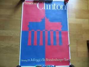 BILL CLINTON Plakat Brandenburger Tor Rede in Berlin 1994 speech US President