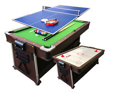 4 in 1 - 7Ft Green Pool Table + Tennis Table Tennis + Air Hockey + Dinner table