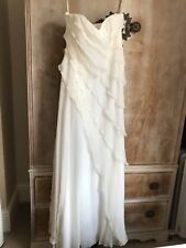 Coast Ivory Cream Monroe Strapless Maxi Ruffle Frill Dress Sz 8 Wedding Bridal