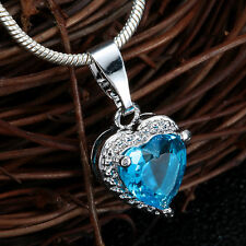 925 Silver Filled Heart Blue Aquamarine CZ Pendant Necklace Chain Charm Party