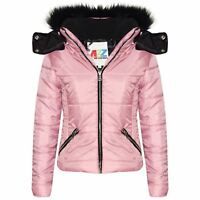 Kids Girls Jackets Pink Cropped Padded Puffer Bubble Fur Collar Warm Thick Coats