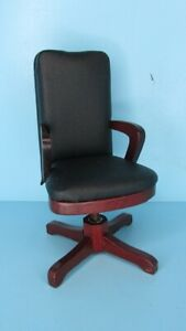 Dollhouse Miniature Swivel Wood & Faux Leather High Back Office Desk Chair M0713
