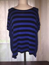 MICHAEL Michael Kors Black And Blue Medium Striped Top *flawed*