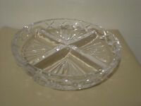 """Royal Doulton divided nut dip dish candy cut glass 4 sections 10"""" diameter"""