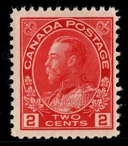 #106 George V  2c carmine Canada mint never hinged well centered
